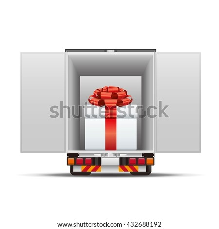 Delivery truck with gift box