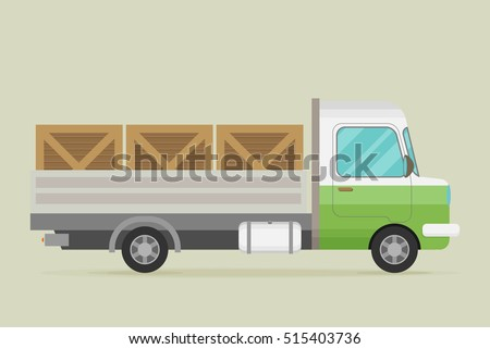 Delivery truck with wooden boxes