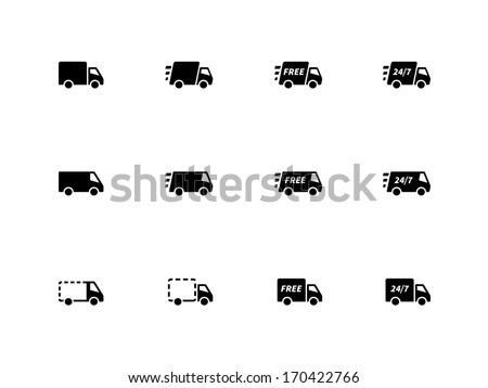 Delivery Trucks icons on white background. Vector illustration. - stock vector
