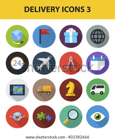 Delivery vector icon set with long shadow effect for Web, Presentations, Interface design and Mobile Application. Symbols isolated on white background. - stock vector