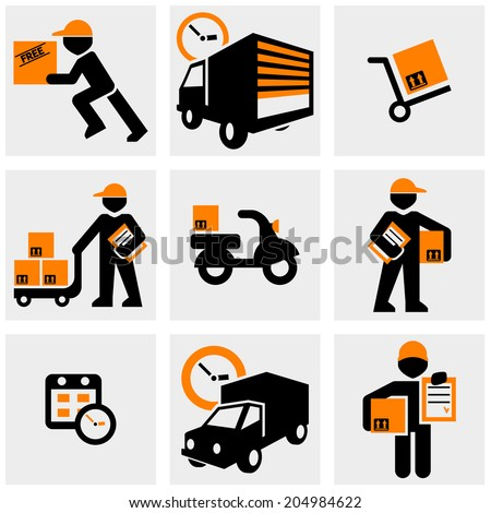 Delivery vector icons set on gray.  - stock vector