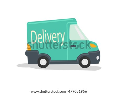 Delivery vehicle. Green delivery truck. Cartoon colorful vector illustration