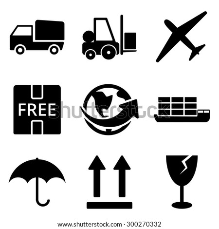 Delivery web and mobile logo icons collection isolated on white back. Vector symbols of loader, world, plane etc - stock vector