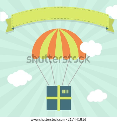 Delivery with parachute. Package hanging from a parachute in the sky representing delivery, freight, shipping.  Blank ribbon for insert text. - stock vector