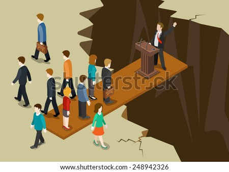 Democracy politics system concept flat 3d web isometric infographic. Politic tribune over abyss, electorate votes sympathique leaves the bord imbalance collapse. Creative government social collection. - stock vector