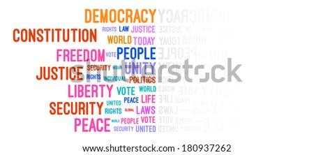 Democracy Word Cloud Concept Vector - stock vector