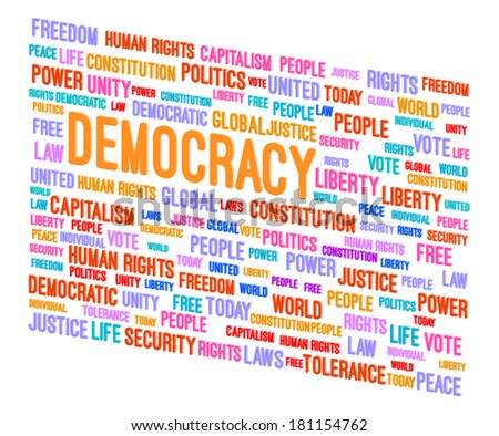 Democracy Word Cloud 3D Concept Vector Illustration