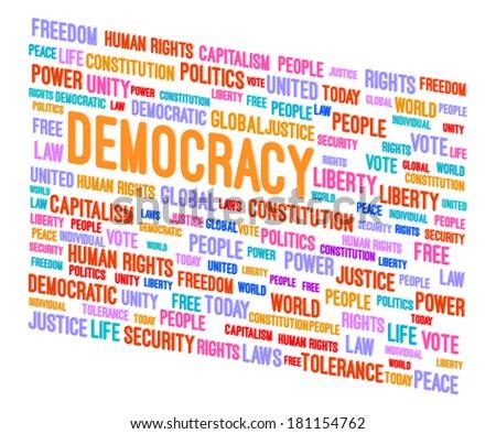 Democracy Word Cloud 3D Concept Vector Illustration - stock vector