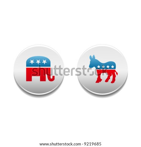 Democrat and Republican donkey and elephant political symbol buttons - stock vector