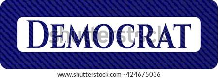 Democrat badge with denim texture - stock vector