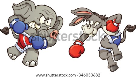 Democrat cartoon donkey and republican elephant throwing a punch. Vector clip art illustration with simple gradients. Each on a separate layer. - stock vector