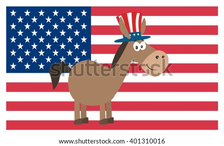 Democrat Donkey Cartoon Character With Uncle Sam Hat Over USA Flag. Vector Illustration Flat Design Style Isolated On White