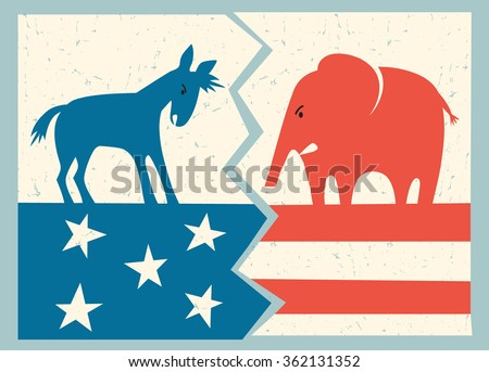 democrat donkey versus republican elephant political illustration - stock vector