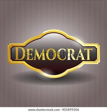 Democrat golden badge - stock vector
