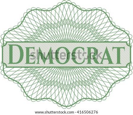 Democrat rosette or money style emblem - stock vector