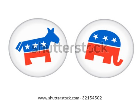 Democratic and Republican Buttons - Vector Illustrations - stock vector