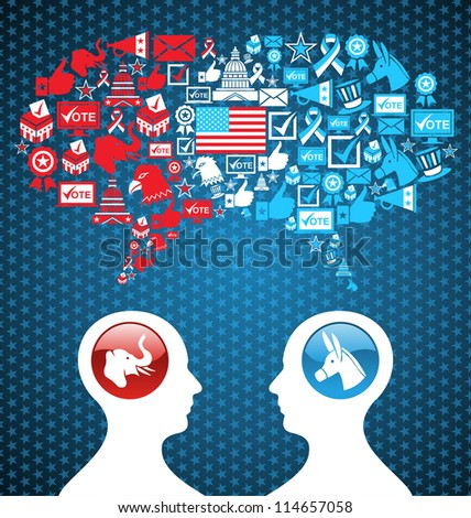 Democratic and  Republican social networks political rally. USA elections discussion: two men facing heads with icons speech bubbles. Vector file layered for easy manipulation and custom coloring.