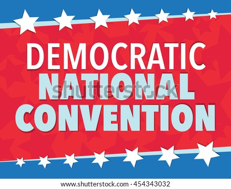 Democratic National Convention, red, white, and blue poster with stars - stock vector