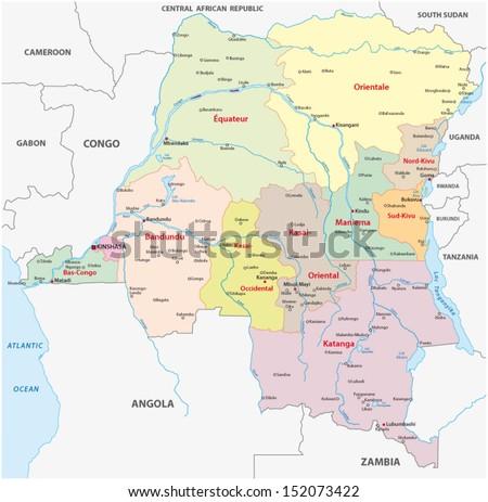 democratic republic of the congo administrative map - stock vector