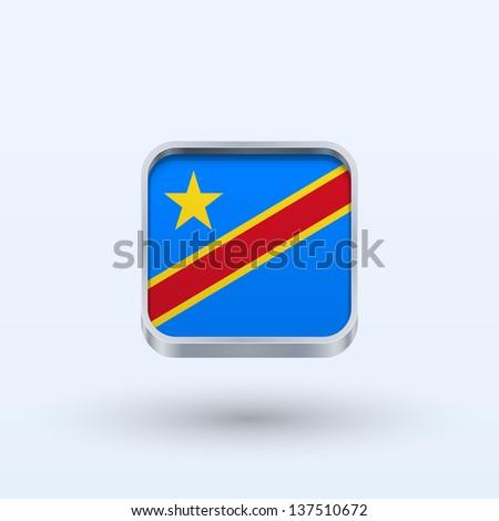Democratic Republic of the Congo flag icon square form on gray background. Vector illustration. - stock vector