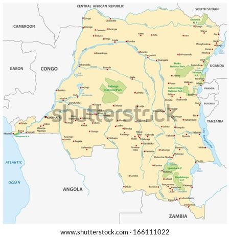 democratic republic of the congo map - stock vector
