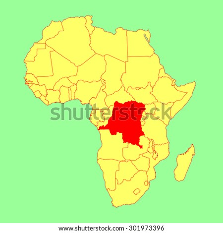 Democratic republic of the Congo vector map isolated on Africa map. Editable vector map of Africa.  - stock vector