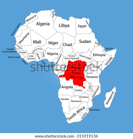 Democratic republic of the Congo vector map silhouette isolated on Africa map. Editable vector map of Africa.  - stock vector