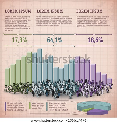 Demographic chart. Retro styled Infographic vector template. - stock vector