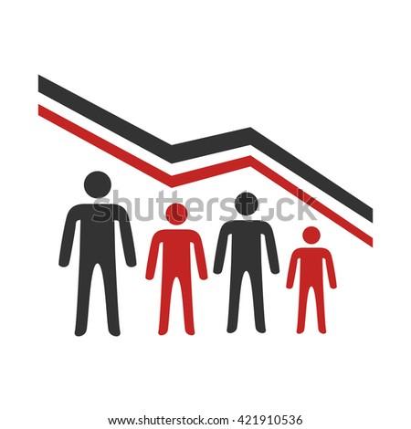 Demographic decline - stock vector