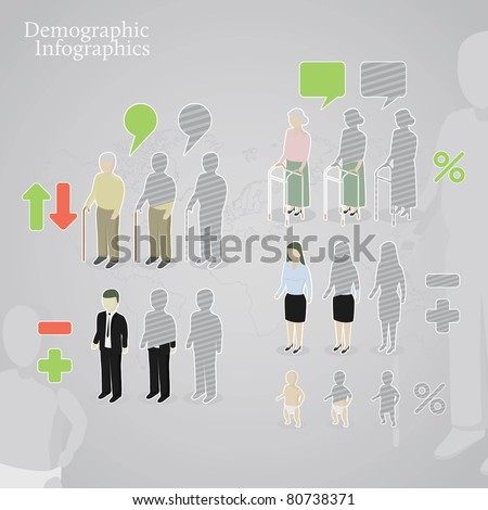 Demographic infographics. People icons including man, woman, old man, old woman and baby made in a different styles. plus operation signs and speech bubbles. - stock vector