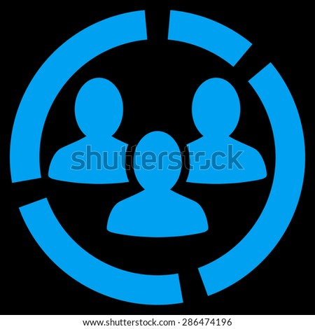 Demography diagram icon from Business Bicolor Set. Vector style: flat symbol, blue color, rounded angles, black background. - stock vector