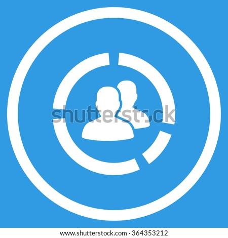 Demography Diagram vector icon. Style is flat circled symbol, white color, rounded angles, blue background. - stock vector