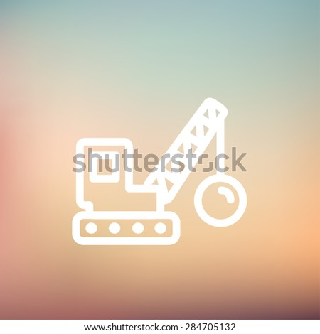 Demolition trailer icon thin line for web and mobile, modern minimalistic flat design. Vector white icon on gradient mesh background. - stock vector
