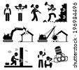 Demolition Worker Demolish Building Stick Figure Pictogram Icon Cliparts - stock photo