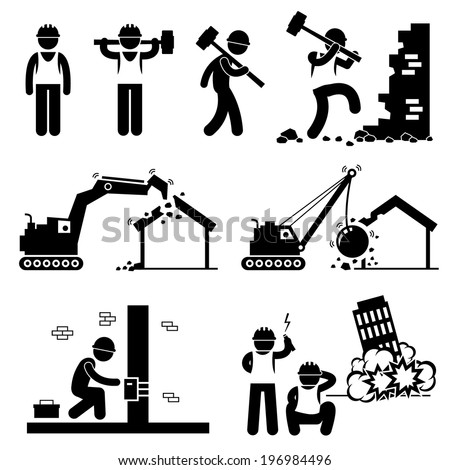 Demolition Worker Demolish Building Stick Figure Pictogram Icon Cliparts - stock vector