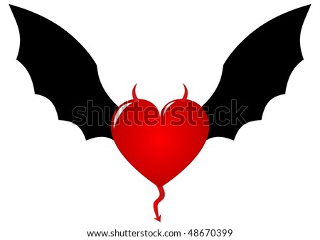 Demon heart with horns and bat wings - stock vector