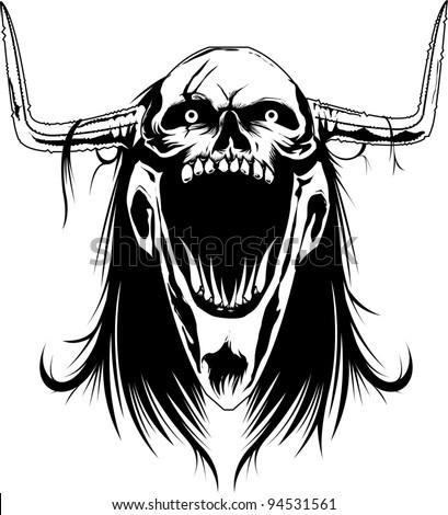Demonic Skull - stock vector