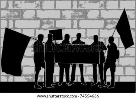 Demonstration City - street strike - stock vector