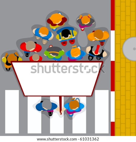 Demonstration the people in road (vector) - stock vector