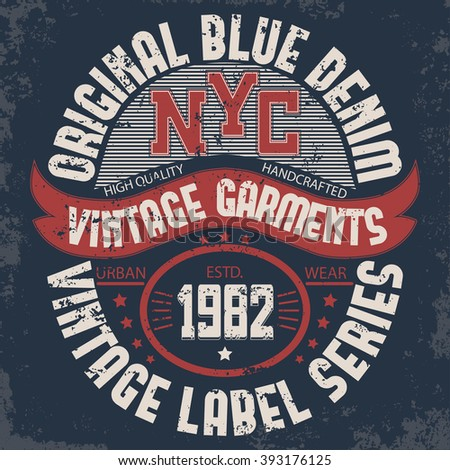 denim american print typography new york stock vector