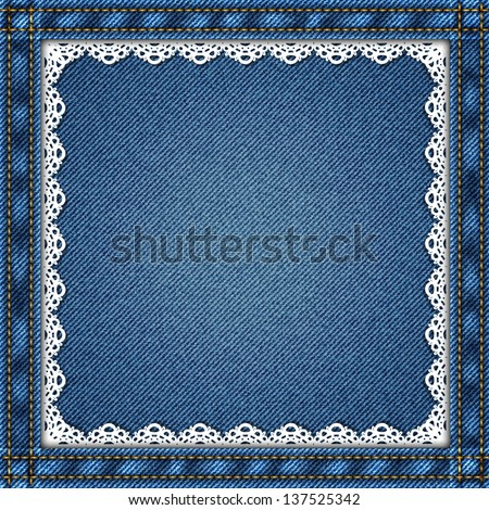 Denim background with lace in vector EPS 10. - stock vector