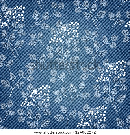 Denim background with ornate floral pattern in vector EPS 10. Web page background. - stock vector
