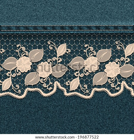 Denim background with white lace ribbon. Vector illustration. - stock vector
