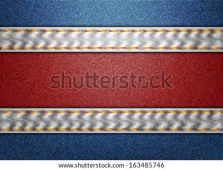 Denim Costa Rica flag - stock vector