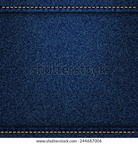 Denim jeans texture with strings and seams. Vector illustration - stock vector