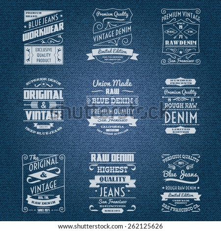 Denim jeans white typography labels set isolated vector illustration - stock vector