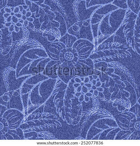 Denim seamless background with printed white flowers. Jeans blue pattern. Vector illustration. - stock vector
