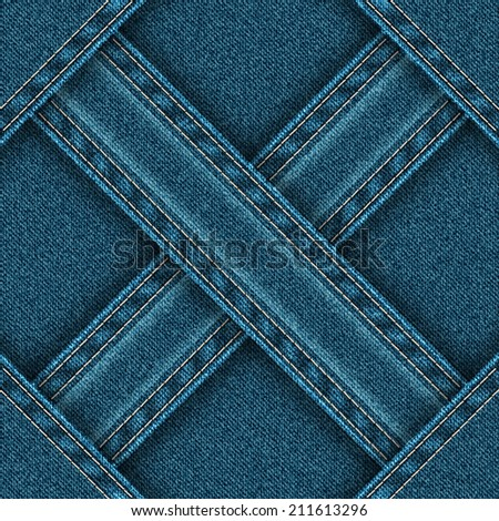Denim seamless pattern is divided ribbons sewn into four zones. Vector illustration. - stock vector