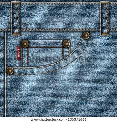 Denim template with jeans pocket, rivets, stitches and folds - eps10 - stock vector