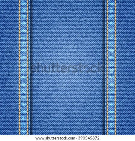 Denim texture background. Realistic denim fabric. Vector illustration - stock vector